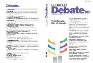 Portada y contraportada Ecuador Debate n° 106